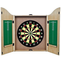 "18"" Indoor Wood Cabinet Style Bar Dart Wall Sisal Fiber Pub Dartboard Mount Game"