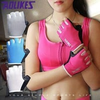 PEAPONRZ 1 Pair Women/Men Anti-skid Breathable Gym Gloves Body Building Training Sport Dumbbell Fitness Exercise Weight Lifting Gloves