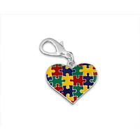 Autism Puzzle Piece Multicolored Hanging Charm