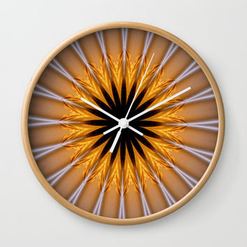 Golden Brown with a Twist Wall Clock by Chris' Landscape Images & Designs