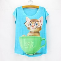 Summer Cup Cats Print Ladies Short Sleeve T-shirts [6044916673]