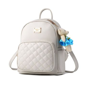 2018 NEW Tassel Women Backpacks Fashion PU Leather Lady Backpacks High Quality Fashion Girls Backpacks Cute School Bag 158 beige