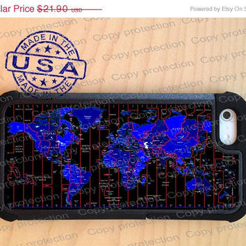SALE World Map Time Zone iPhone 5 case with extra protection - Global iPhone 5 hard case, 2 piece rubber lining case