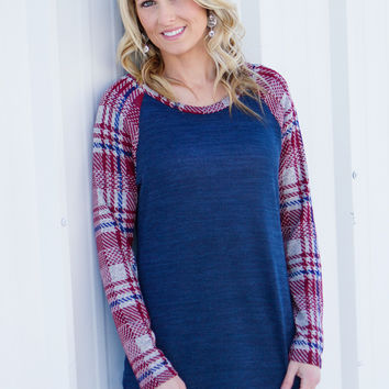 Plaid Sleeve Baseball Tee - Navy