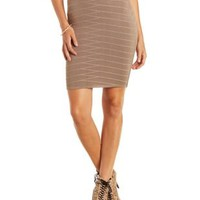 Tan Sweater Knit Bandage Skirt by Charlotte Russe