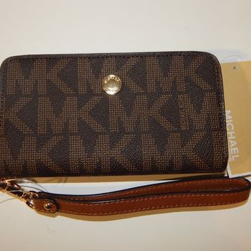 Michael Kors Jet Set Travel Slim Tech Wristlet Phone Case Luggage Brown Leather
