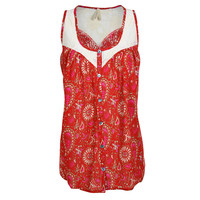 Roper Women's Floral Paisley Lace Yoke Tank Top