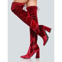 Lace Up Pointy Toe Thigh High Boots BORDEAUX