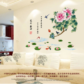 Flowering times Chinese style of sitting room sofa setting wall adornment bedroom SM6