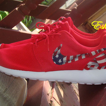 Custom Nike Red or Black American Flag Roshes