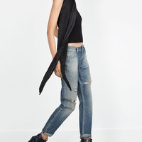 Denim Jeans Cutout Button Zippered Pants