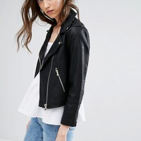 Miss Selfridge Cropped Leather Look Jacket at asos.com