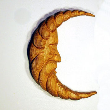 Man in the Moon Wood Carving Hand Carved Wall Sculpture