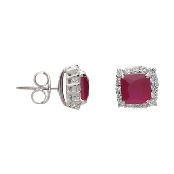 Ruby Red Square Studs