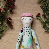 Handmade Rag Doll with Pink Braid, Embroidered Cloth Doll, Cactus Print and Floral Print - Art Doll with Braids by Wildflower Dream Dolls