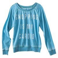 Junior's Shopping Is My Cardio Lightweight Sweatshirt Blue