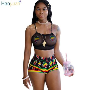HAOYUAN 2 Two Piece Set Women 2018 Summer Autumn Print Sexy Club Halter See Through Black Mesh Tank Crop Top And Shorts Suit