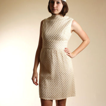50s60s white crochet high collar dress with by DiamondGraffiti