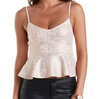 Foiled Damask Peplum Tank Top by Charlotte Russe - Blush Combo