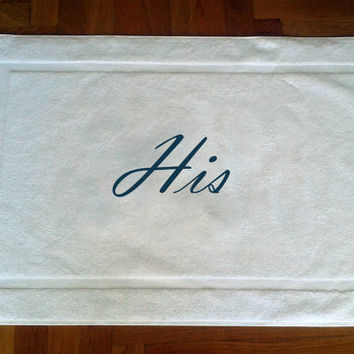 Personalized his and hers BATH MAT-Tub mat- Name embroidery- egyptian cotton 700gr, special gift- wedding gift-aniversary gift