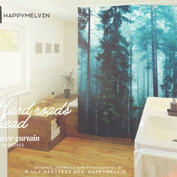 Hard roads ahead  - Shower curtain - Bathroom decor - Home decor - Bohemian - Original - Forest - Wanderlust - Nature - Curtains - Unique.