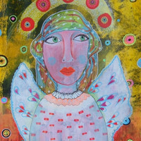 Outsider Art Angel - Female Painting - Colorful Angel - Strong Women Art - Paintings Of Women - Folk Art Angel - Spiritual Art - Whimsical