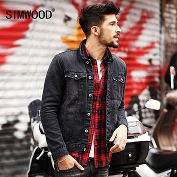 SIMWOOD 2016 New  Autumn Winter  Men Denim Jacket Fashion Casual Slim Jean Jacket Coat  long sleeve  brand clothing NJ6508