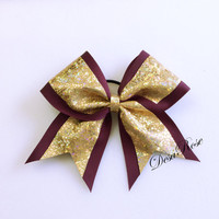 Shattered Glass Maroon and Gold Cheer Bow~ Sports Bow