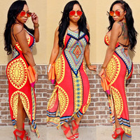 Dashiki Print Maxi Dress