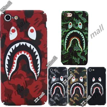 Bape supreme Camouflage Shark Mouth Cases For iPhone 6 case 6s 6Plus 7Plus 7 Case full