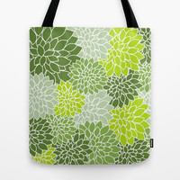Vintage Floral Pattern Tote Bag by Tami Art