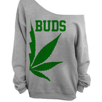Best Buds - Gray Slouchy Oversized CREW - BUDS