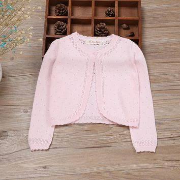 Long Sleeve Baby Girls Cardigan Sweater Pink Cotton Baby Girls Coat For 1 2 Years Old 2017 Baby Clothes RKC175023