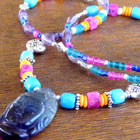 Kwan Yin Goddess Beaded Necklace Bohemian Tribal Jewelry