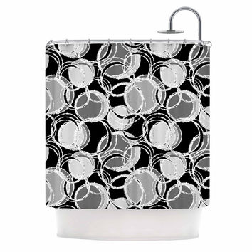 "Julia Grifol ""Simple Grey Circles"" Black Gray Shower Curtain"