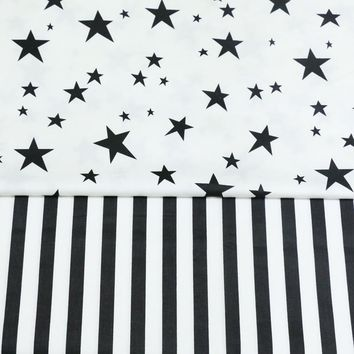 100% cotton twill cloth nordic wind white black stars stripe 1.5CM fabrics for DIY bedding cushions quilting handwork decor tela