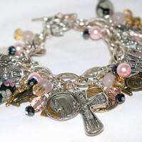 Religious ,Saints Medals Handcrafted Charm Bracelet, Catholic, Wings, Pink Quartz, One of a kind