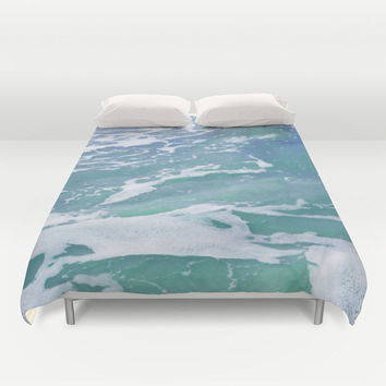 Mermaid Waters 2 - Duvet Cover, Blue Green Ocean Bedding, Pastel Sea Water Colors, Beach Surf Bed Blanket Throw. In Full / Queen / King Size