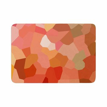 "Rosie Brown ""Tumbled Pebbles"" Pink Brown Abstract Nature Mixed Media Memory Foam Bath Mat"