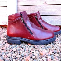 Chunky ankle boots / US 6.5 / 7 / EU 38 / Womans 90s Red / Burgundy leather / NAOT Helm walking boots / designer boots