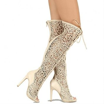 Woven thigh high boots lace up