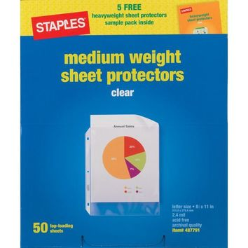 Staples® Nonstick Top-Loading Sheet Protectors, Medium-Weight, Clear, 2.4 mil, 8 1/2