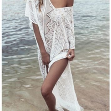 Sexy white crochet lace boho maxi dress or cover up ~ Plus size available