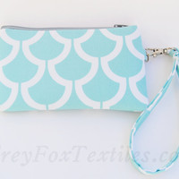Handmade aqua / turquoise / teal / light blue wristlet, clutch, zipper pouch, iPhone case handmade in bekko koi print designer fabric