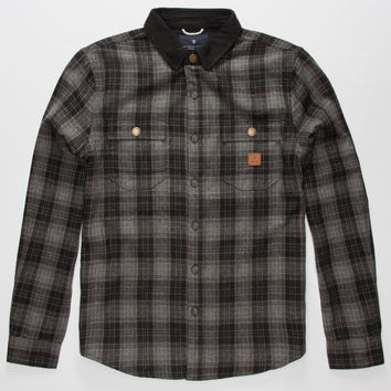 Roark Nordsman Mens Flannel Shirt Charcoal  In Sizes