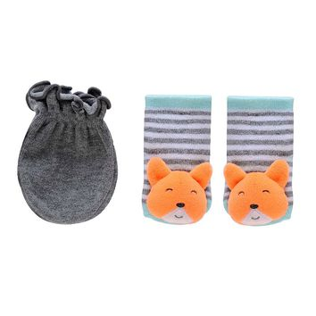 Carter's Fox Rattle Socks & Gloves Set - Baby, Size: 0-3 MONTHS (Grey)
