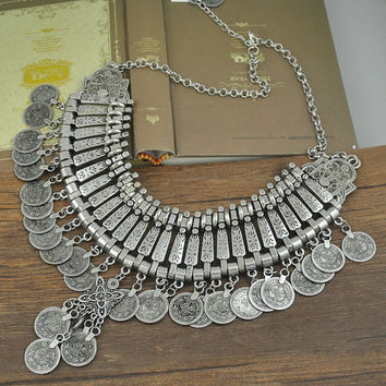 bohemian silver coin bib necklace, coin bib necklace, Fringe Necklace, Festival Jewelry, Gypsy Bohemian Jewelry, boho, hippie,