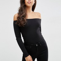 ASOS Long Sleeve Off Shoulder Top in Rib at asos.com
