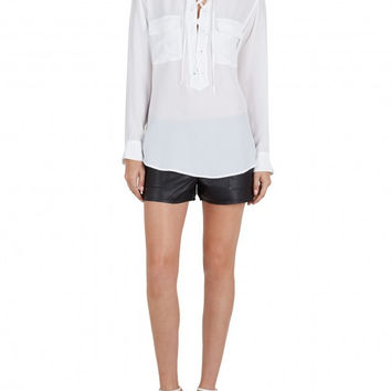 Equipment Knox Lace Up Blouse - Bright White /