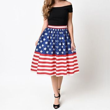 American flag clothing Vintage High Waist Pleated Skater Skirt